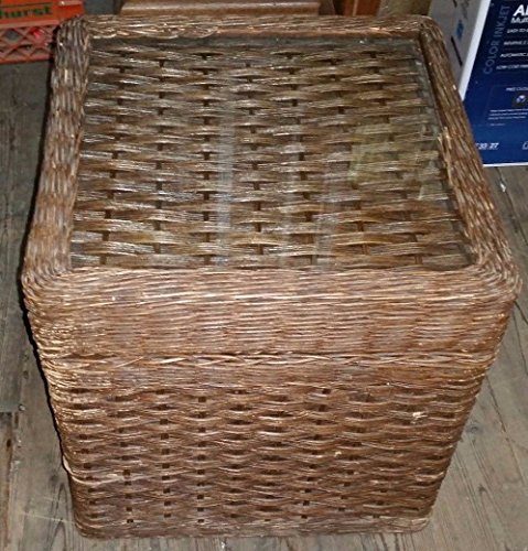 "Vintage 18"" Square WICKER End Table Chest Trunk w Glass Top & Leather Handles from Unknown"