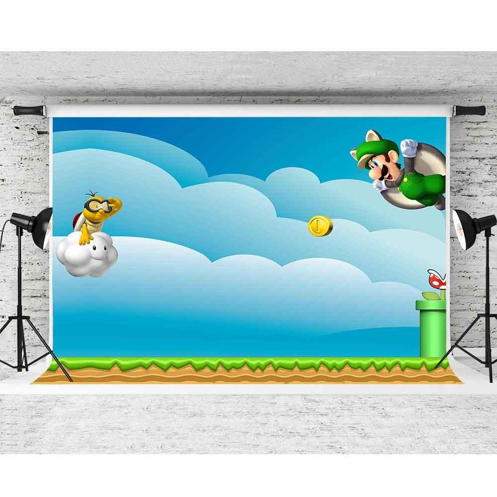 Fhzon 10x7ft Super Mario Photography Backdrop Cartoom Cloud