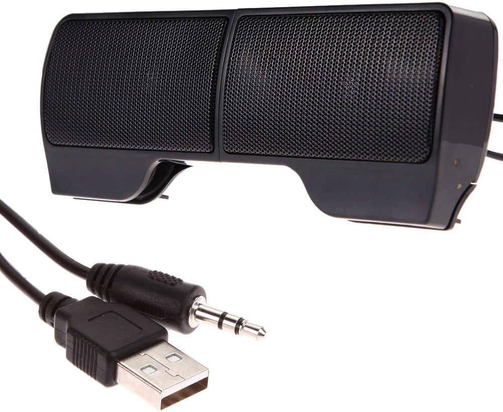 USB Laptop Speaker Clip-On Soundbar, Portable Mini Stereo Speakers, Wired Soundbar with Clip for Notebook,MacBook, Desktop, MP3, PC - Black