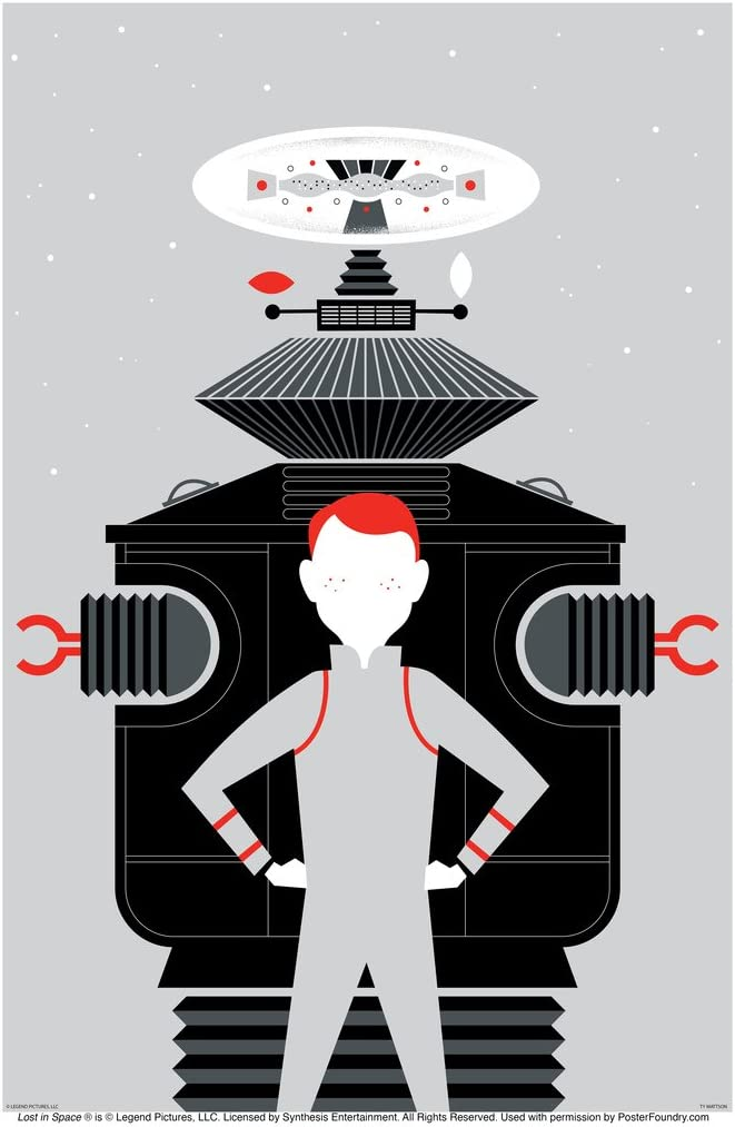 Lost in Space Will Robinson and Robot (Gray) by Ty Mattson Cool Wall Decor Art Print Poster 12x18