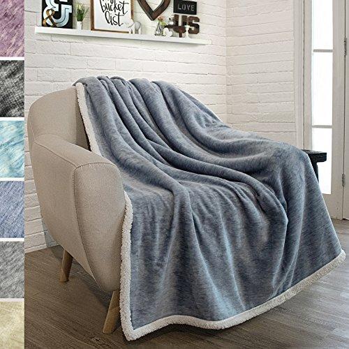 PAVILIA Premium Sherpa Throw Blanket for Couch, Sofa | Soft Micro Plush Reversible Throw | Melange Fleece Lightweight All Season Blanket (50 X 60 Inches Navy (Sherpa Throw)