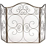 Antique Brass Fire Guard Fire Screen With Mesh Spark protector (Width 126cm x Height 80.5cm) by Dibor - French Style Accessories for the Home