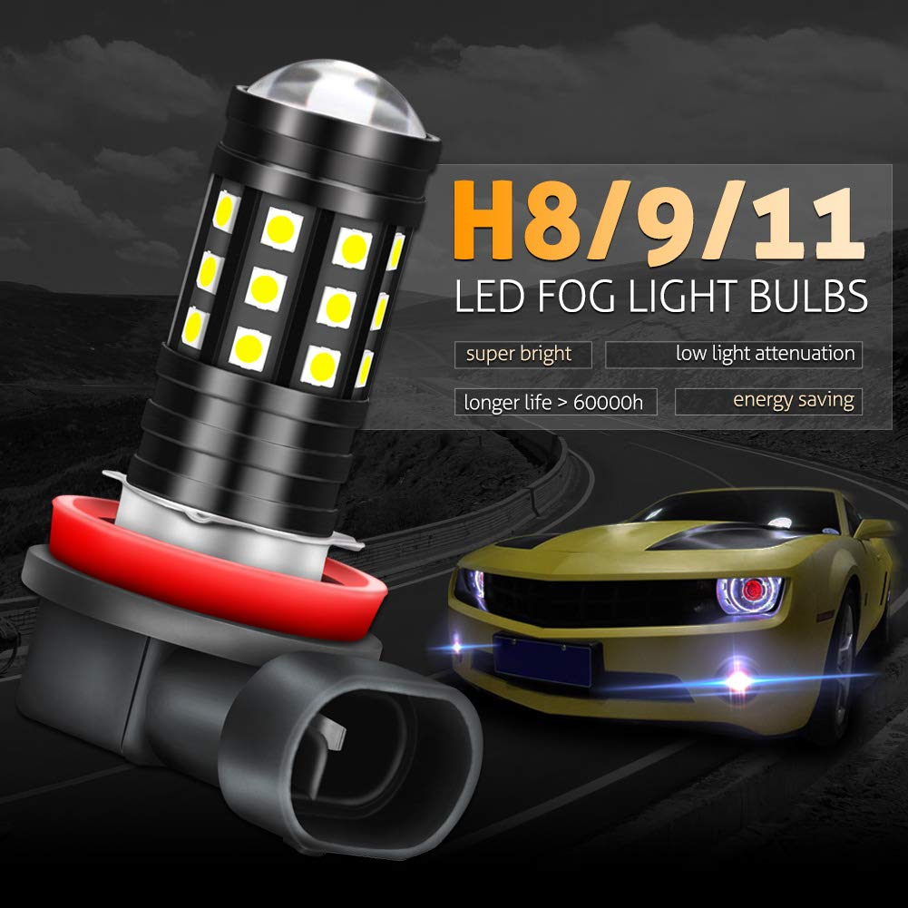 Pack of 2 KaTur H7 LED Fog Light Bulbs High Power 3030 Chips Super Bright 2700 Lumens with Projector for Driving Daytime Running Lights DRL or Fog Lights,6500K Xenon White