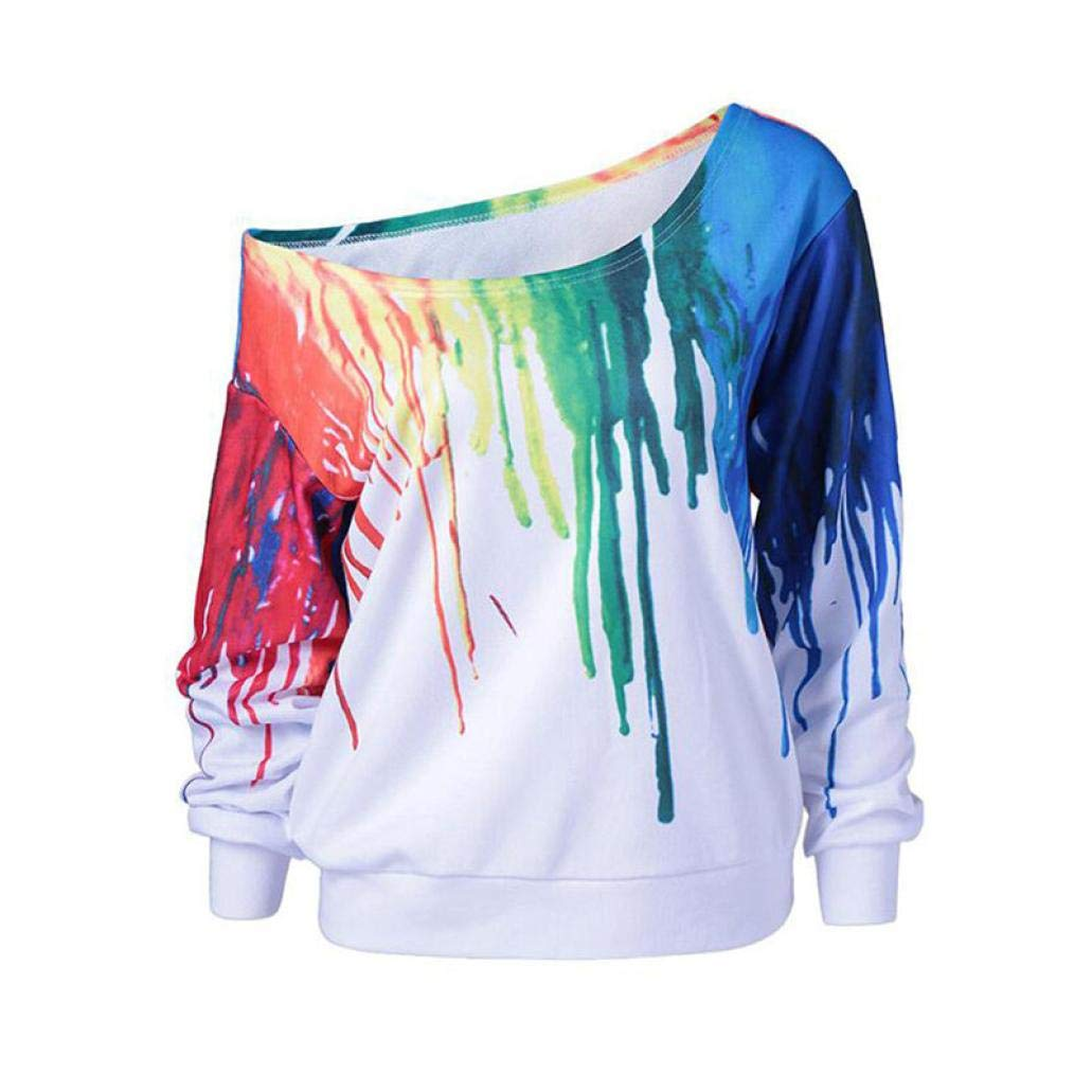 Womens Fashion Off Shoulder Pullover Sweatshirt Oil Printing Printed Tops Shirts