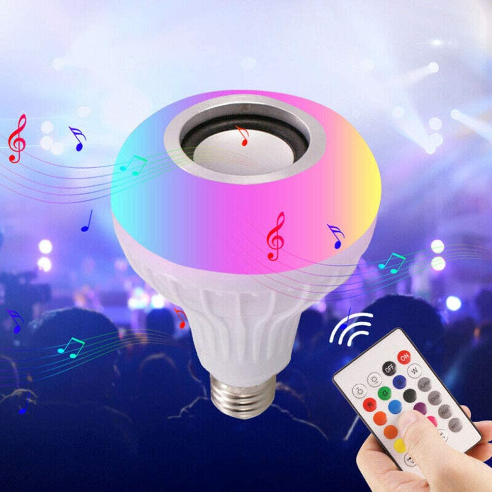 White, E27 LED Bluetooth Light Bulb Speaker 12W E27 RGB Changing Lamp Wireless Stereo Audio with 24 Keys Remote Control