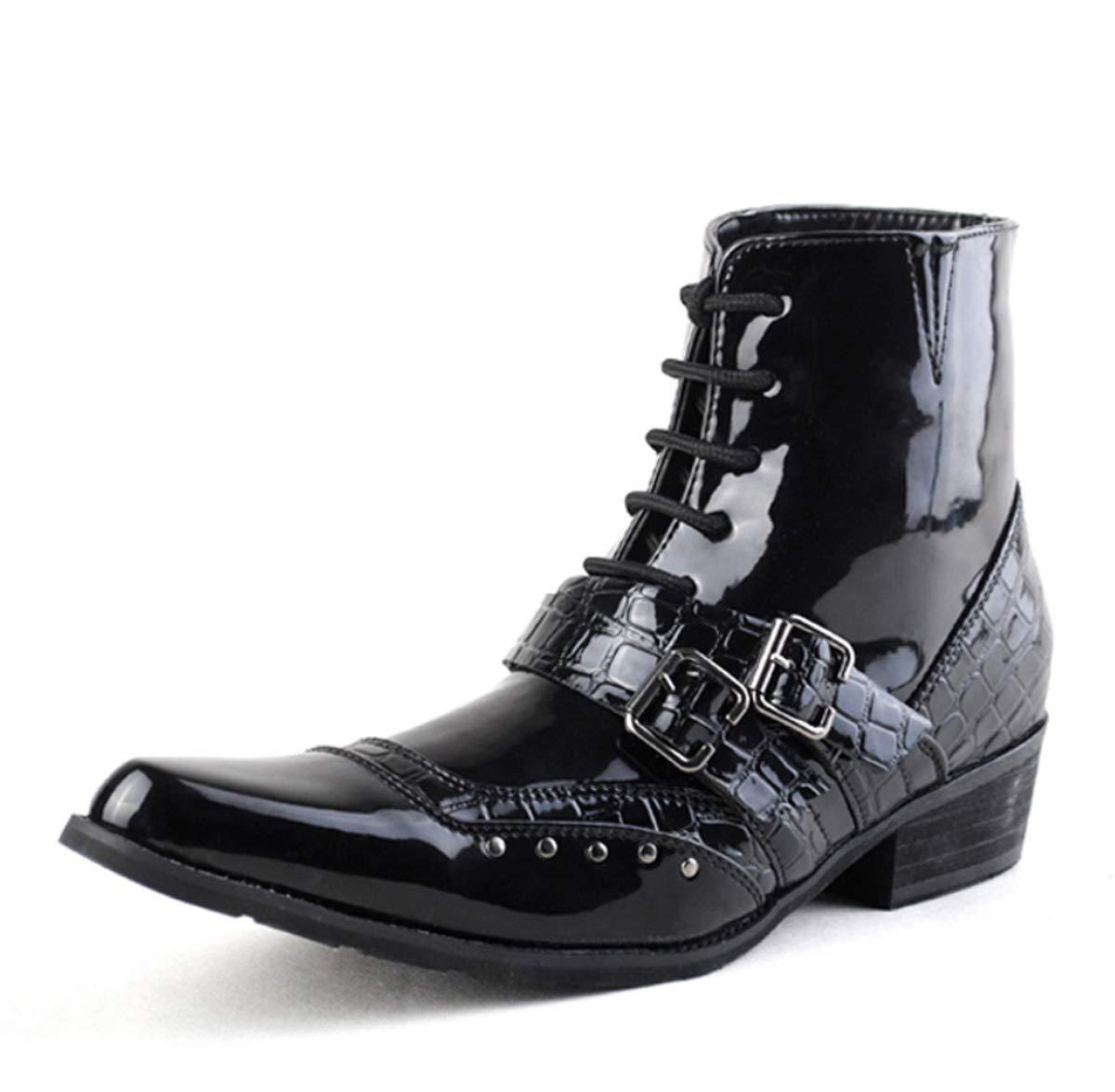DANDANJIE Herren Herren DANDANJIE Stiefel Vintage Spitz Stiefeletten Outdoor Schnalle Schnürstiefeletten Oxfords Schuhe für Herbst Winter 337602