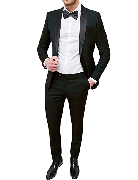 Frank Mens Tuxedo One Button Formal 2 Piece Suits Slim Fit ...