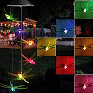 Vency Solar Power Lights, Color Changing Solar Dragonfly Wind Chimes, LED Decorative Mobile, Waterproof Outdoor Decorative Lights for Patio, Balcony Bedroom Party Yard Garden (Color Wind Dragonfly)