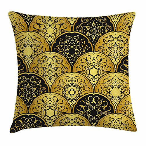 Fashion Fabric Accent Pillow (Gold Mandala Throw Pillow Cushion Cover by Ambesonne, Overlapping Round Shapes Retro Revival Fashion with Arabic Art Elements, Decorative Square Accent Pillow Case, 18 X 18 Inches, Gold and Black)