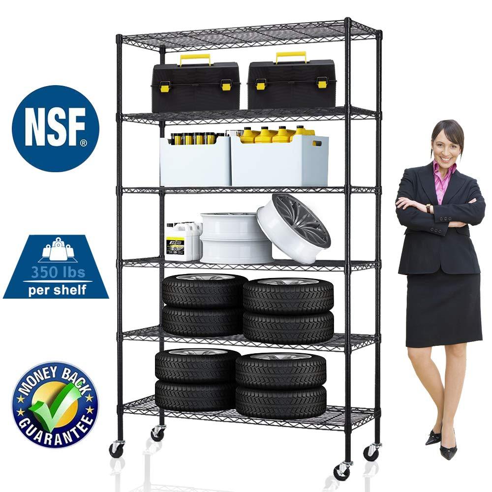 6 Tier Storage Shelves Metal Wire Shelving Unit Height Adjustable NSF Heavy Duty Garage Shelving with Wheels 48''x18''x82'' Commercial Grade Utility Shelf Rack for Restaurant Basement Garage Kitchen
