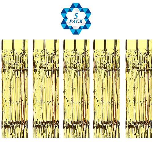 Curtains Metallic Fringe Curtains Shimmer Curtain for Birthday Wedding Party Festival Decorations, Gold (Shimmer Fringe)