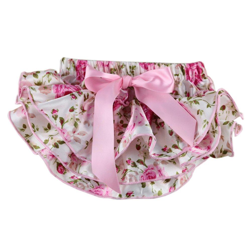 Wennikids Baby-girls Newborn Pretty Pink Floral Satin Baby Bloomers LC-RS-147