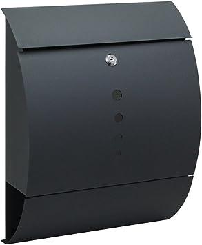 Modell A HENGMEI Edelstahl Briefkasten Anthrazit mit Zeitungsrolle Postkasten Wandbriefkasten Mailbox Gro/ß Zeitungsfach Edelstahl pulverbeschichtet