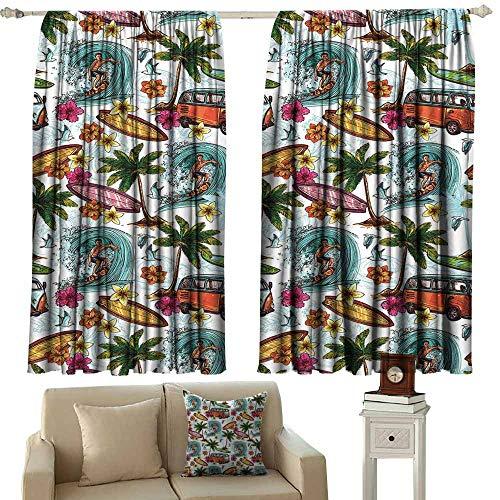 Decor Waterproof Curtains,Ocean Hawaiian Surfer on Wavy Deep Sea Retro Style Palm Trees Flowers Surf Boards Print,Room Darkening Thermal,W72x72L Inches Multicolor ()