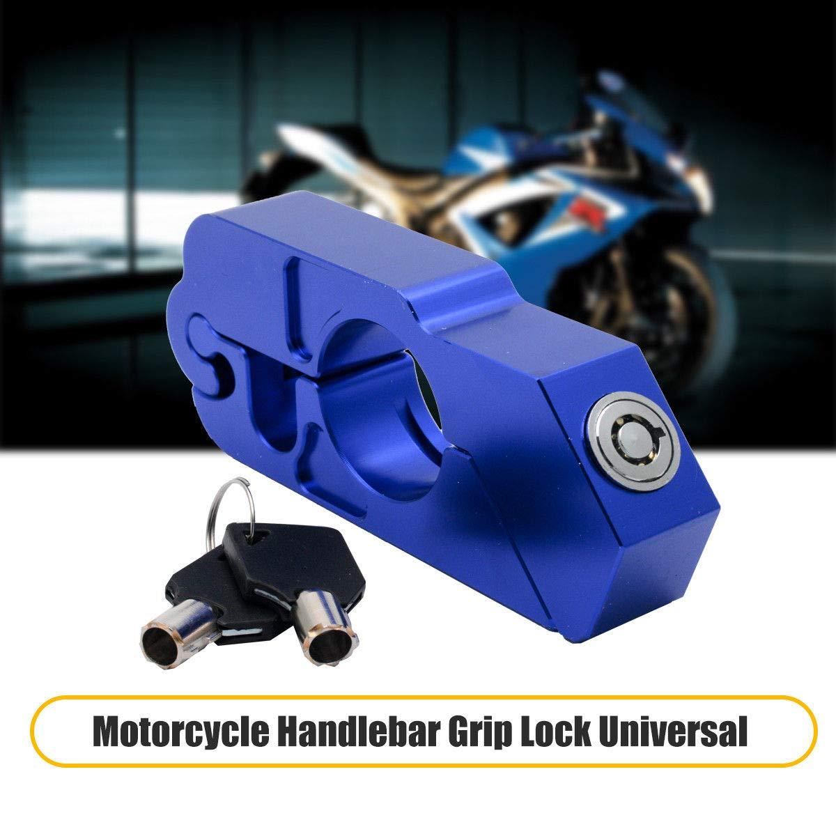 Maso moto manubrio serratura in lega di alluminio antifurto blocco del livello del freno per moto moto scooter ciclomotore atv blu