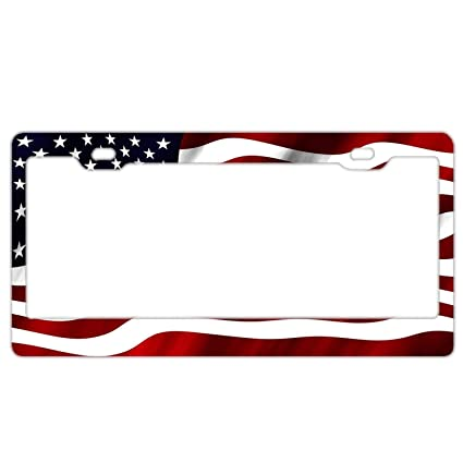 Aluminum Metal Car License Cover Holder with Screw Caps Cover US Standard Rng Big 12x 6 Universal License Plate Frame Holder