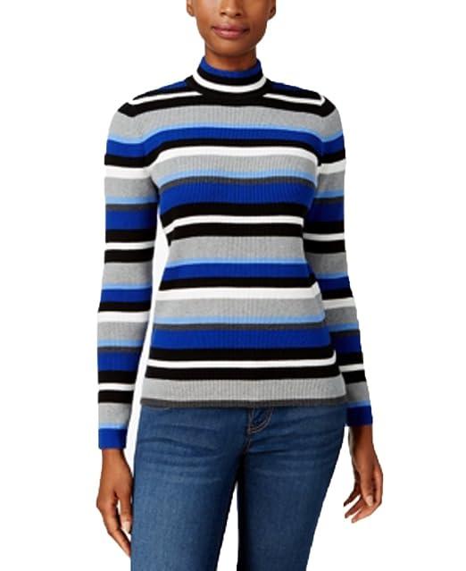 7ee681d4b21 Karen Scott Cotton Striped Mock-Turtleneck Sweater (XS