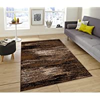 Chocolate/Brown/Gold Abstract Contemporary Modern Mixed Colors Carpet Area Rug (8 Feet X 10 Feet)