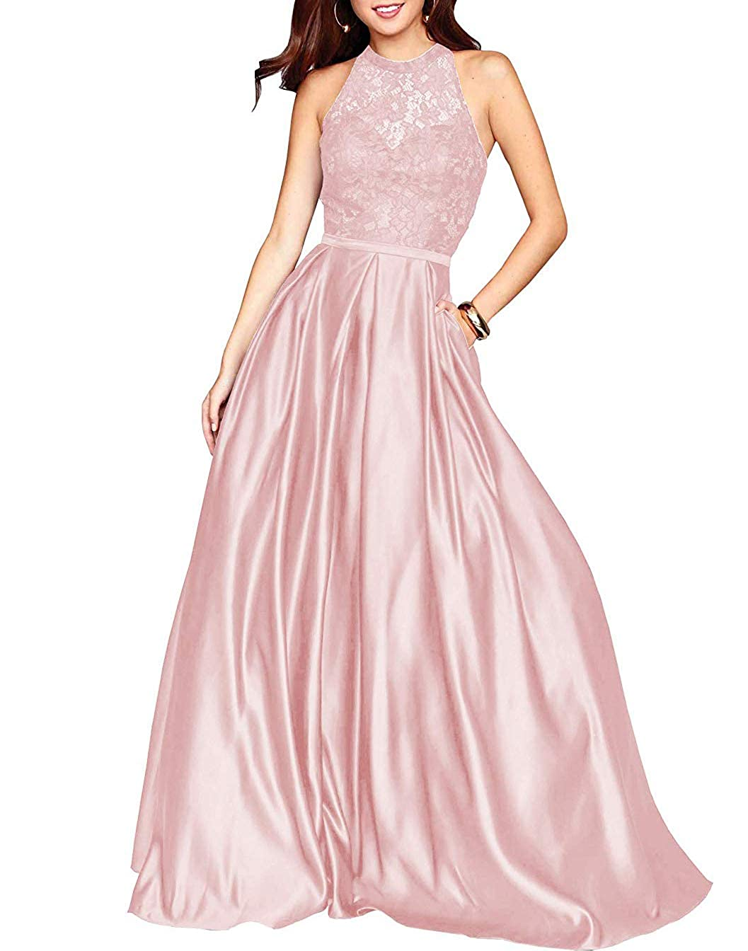 bluesh Pink PearlBridal Women's Halter Lace Prom Dresses Backless A Line Long Evening Formal Dress with Pockets