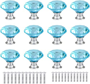 30mm Glass Diamond Crystal Dresser Knobs Drawer Pull Handle Cabinet Door 12PCS