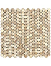 BeNice Peel and Stick Backsplash Hexagon Tile Peel and Stick Bathroom Tiles Waterproof,Peel and Stick Wall Tiles for Kitchen Backsplash Sticker Mosaic Stick on Tile Metal Small Tiles (10sheets, Champagne gold)