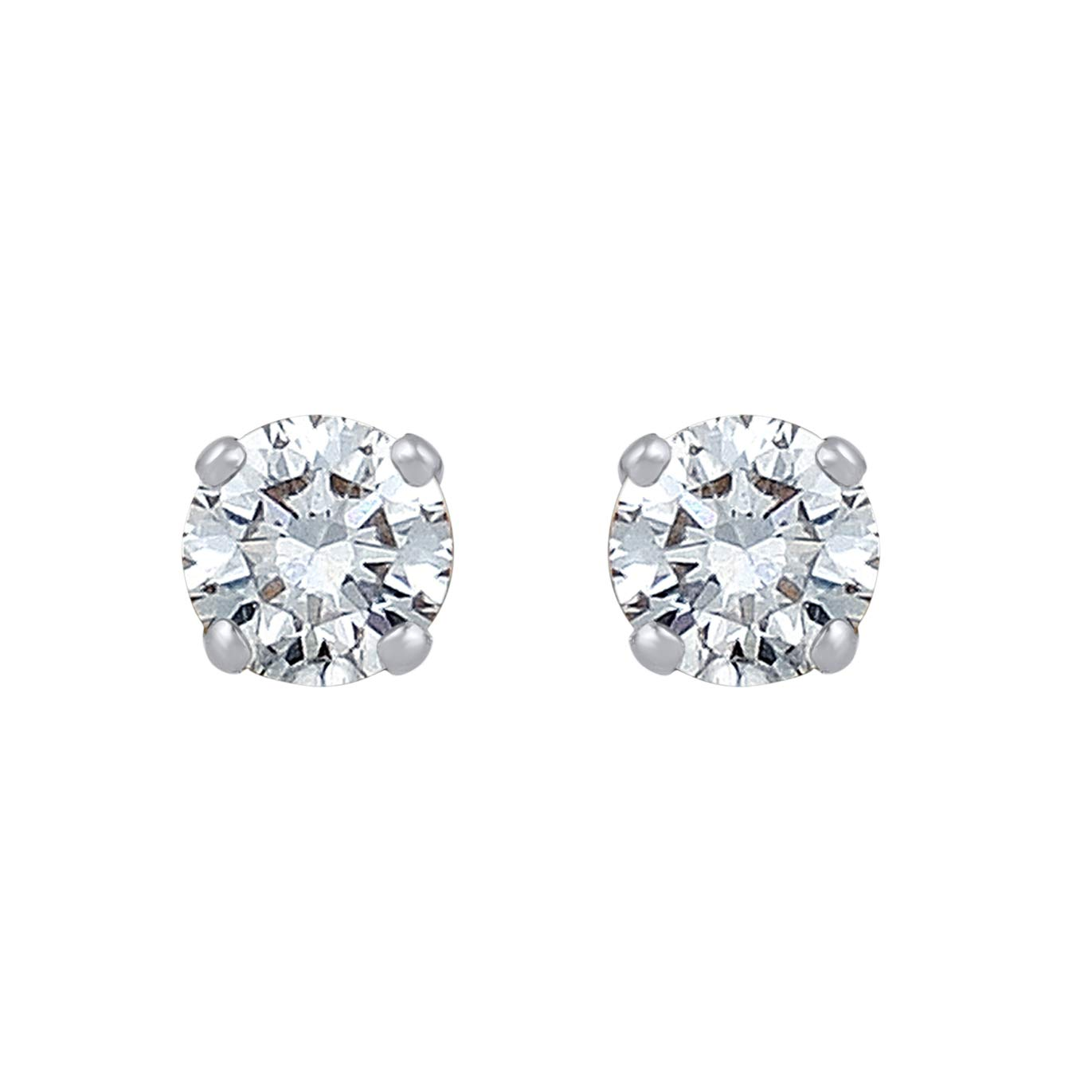 Mothers Day Gifts 3/8 Carat Natural Diamond Earrings 10K White Gold (H-I Color, I2-I3 Clarity) Classy Solitaire Diamond Earrings for Women Diamond Jewelry Gifts for Women