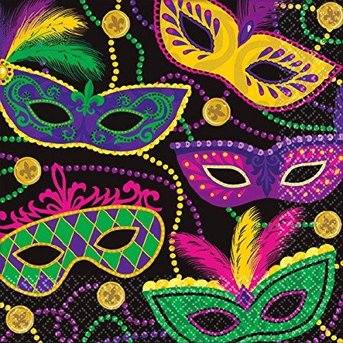 Amscan 501901 Favor, Mardi Gras Masks Beverage Napkins Party Supplies One Size Multicolor ()