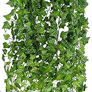 LoveInUSA Artificial Grape Leaves Ivy Silk Fake Vines Hanging Wedding Garland ,Home Decoration Total Tength 32 FT 4 Pack 109