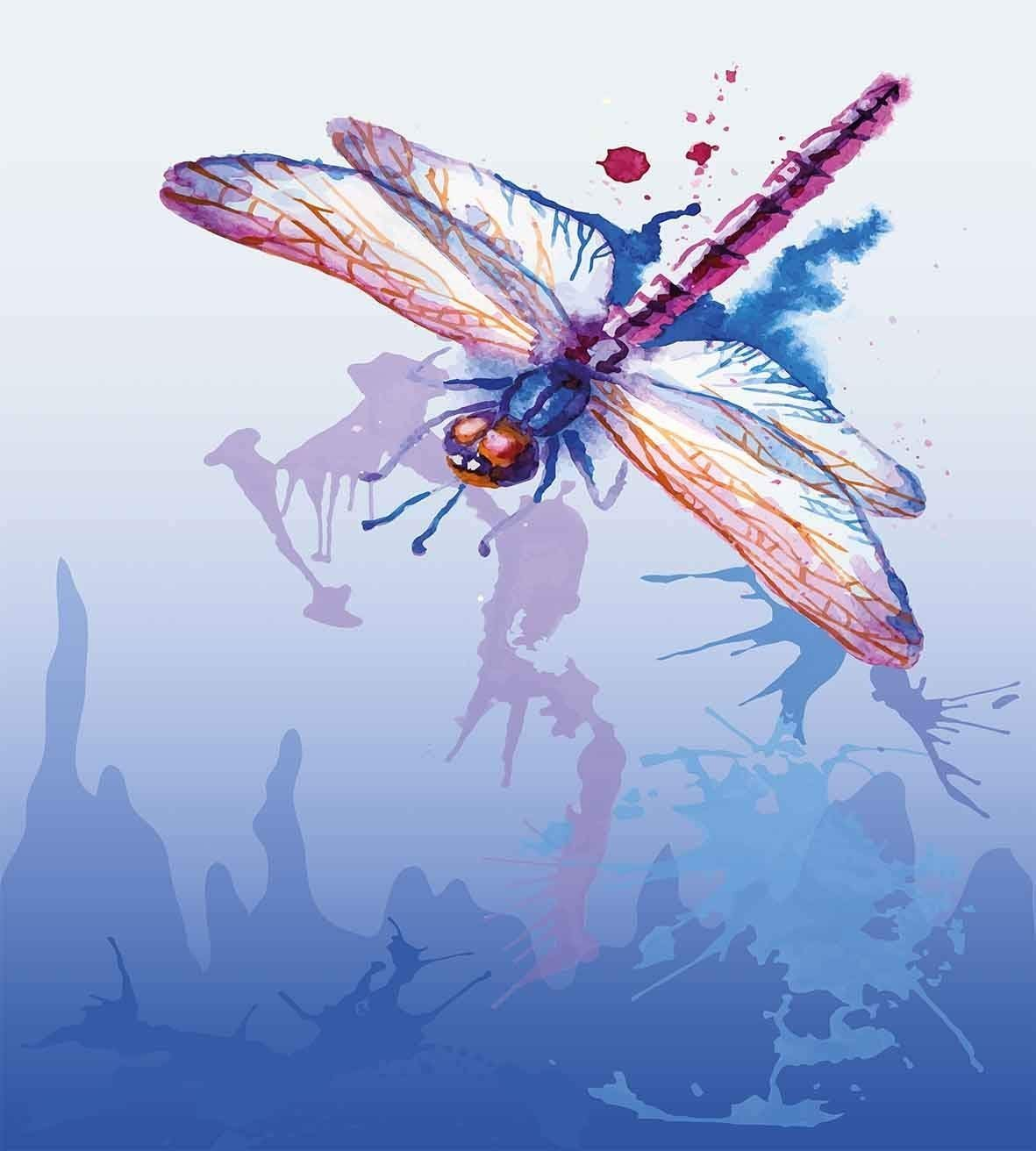 Juego de funda nórdica Dragonfly 3 PCS, diseño colorido de polilla ...