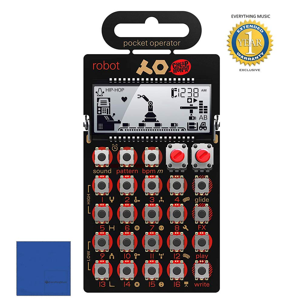 Teenage Engineering PO-28 Pocket Operator Robot Synthesizer with Microfiber and 1 Year Everything Music Extended Warranty