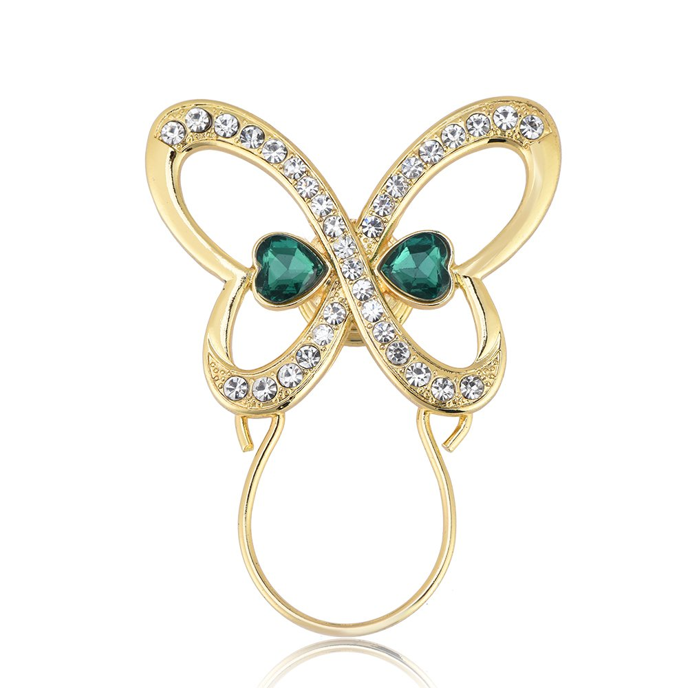GUANDU Double Love Heart Shaped Butterfly Green Rhinestone Magnetic Eyeglass Holder for Women Girls (Gold)