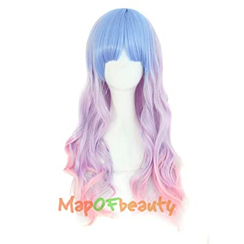 "28"" Long Women Wigs Rainbow Color Pink Blue Synthetic Hair Cosplay Wig Heat Resistant Fake"