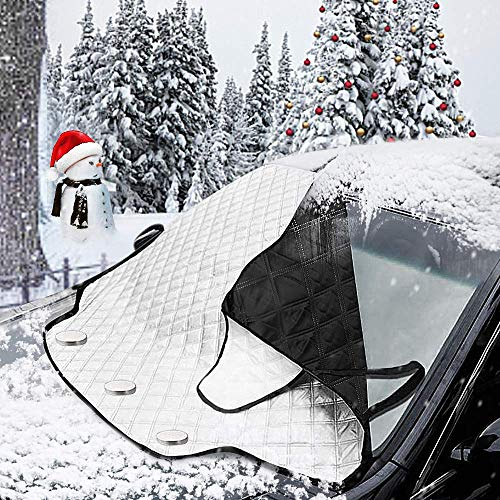 MATCC Car Windshield Snow Cover Magnetic Frost Guard Winter Protector Sun Shades Cotton Thicker Snow Protection Cover Winter Snow Removal Magnetic Edges Fits Most Car