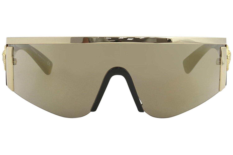b51d2e3d01 VERSACE Shield Sunglasses VE2197 1000 5A Gold-Havana   Brown Mirror Gold  Lens