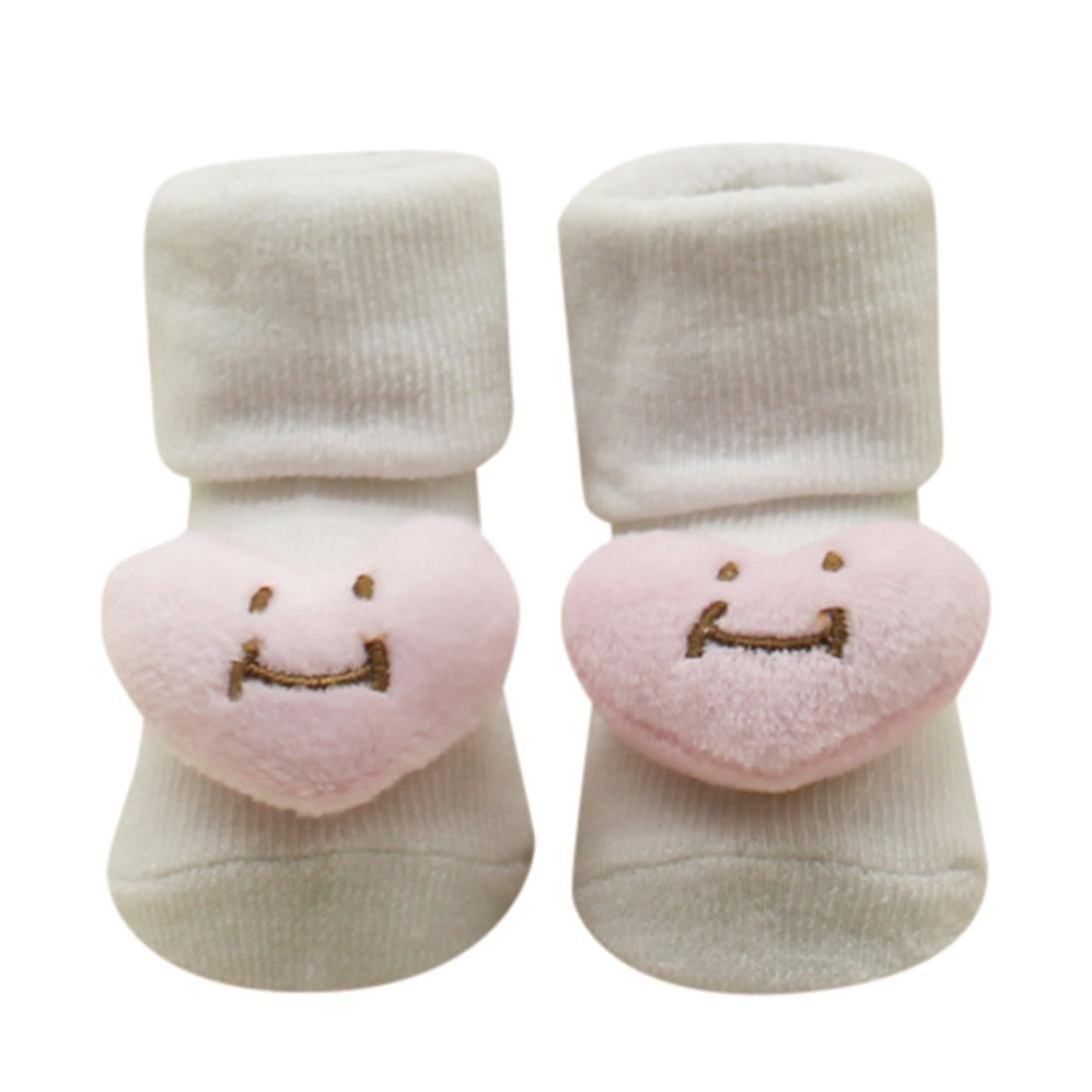 0-24 M Bebe Naissance Chausettes Socquette Lune / Coeur en Relief Chausson Cotton Anti-slip Cute Socks