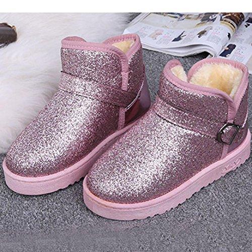 Mode Mode Clode® Gefüttert Slipper Pailletten Damenstiefel Pelz Warm Booties Schnee Ankle Flache Damenstiefel Winter Pink qZwdEw