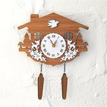 Wall clock TOYM nos rurales campo bosque de bambú Animal de casetas de madera reloj de cuco reloj de pared decoración de pared: Amazon.es: Hogar