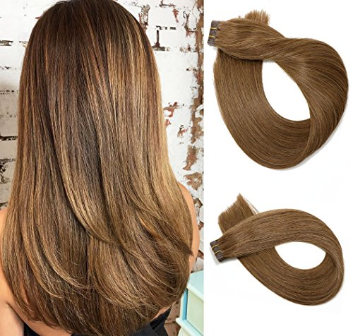 Tape In Remy Human Hair Extensions 20pcs 60g Per Set #8 Ash Brown Remy Hair Extensions Seamless Skin Weft Remy Silk Straight Hair Tape in Extensions Glue in Extensions Human Hair 22 Inch
