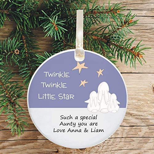 - Personalized 1st Christmas as an AUNTIE/UNCLE Hanging Christmas Tree Ornament Bauble - Twinkle Star Design - Ideal gift to mark your niece's or nephew's Xmas - Unique festive Holiday Decoration