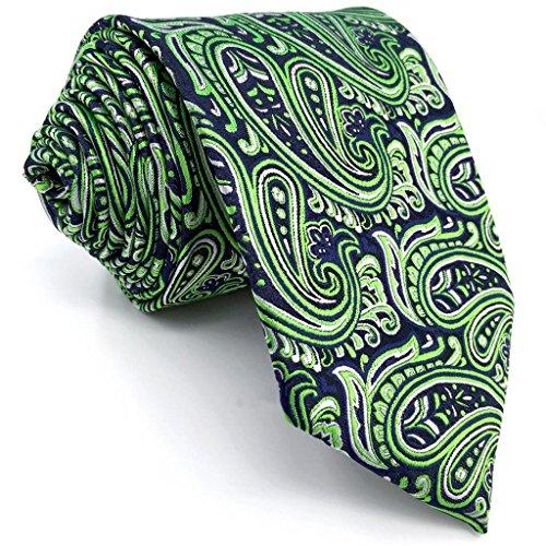 Shlax&Wing Green Blue Paisley Neckties Men's Tie New Design Extra Long Silk (Extra Long Designer Ties)