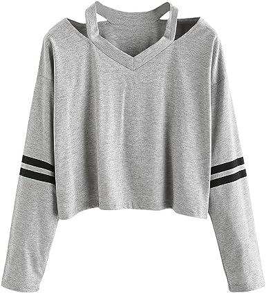 Camisas Mujer, Xinan Sudadera de Manga Larga para Mujer de Moda Blusa Casual Tops Cuello V Blusa de Mujer: Amazon.es: Ropa y accesorios