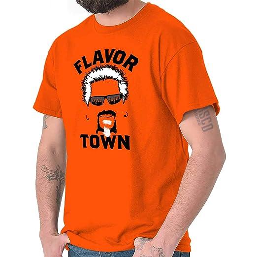e1bc5012f Brisco Brands Food TV Flavor Town Funny Meme Foodie T Shirt Tee Orange