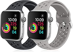 XFYELE Compatible with Apple Watch Band 42mm 44mm, Soft Silicone Replacement Strap Compatible for iWatch Series 6, 5, 4, 3, 2, 1 for Women and Men (Dark Grey & Light Grey, 42mm/44mm)