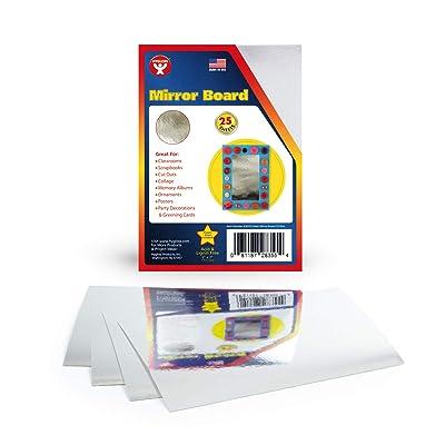 "Mirror Board 12pt. - 5""x7"" - 25 sheets / SPECIAL Classroom Pack-Silver: Mirror Paper: Industrial & Scientific"