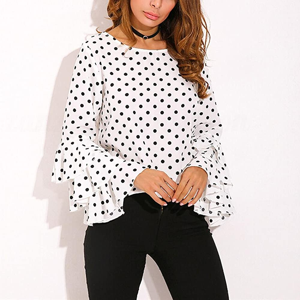 Goodsatar Moda De Las Mujeres Manga de Campana Camisa Suelta del Lunar Señoras Casual Blusa Tops (S, Blanco): Amazon.es: Ropa y accesorios