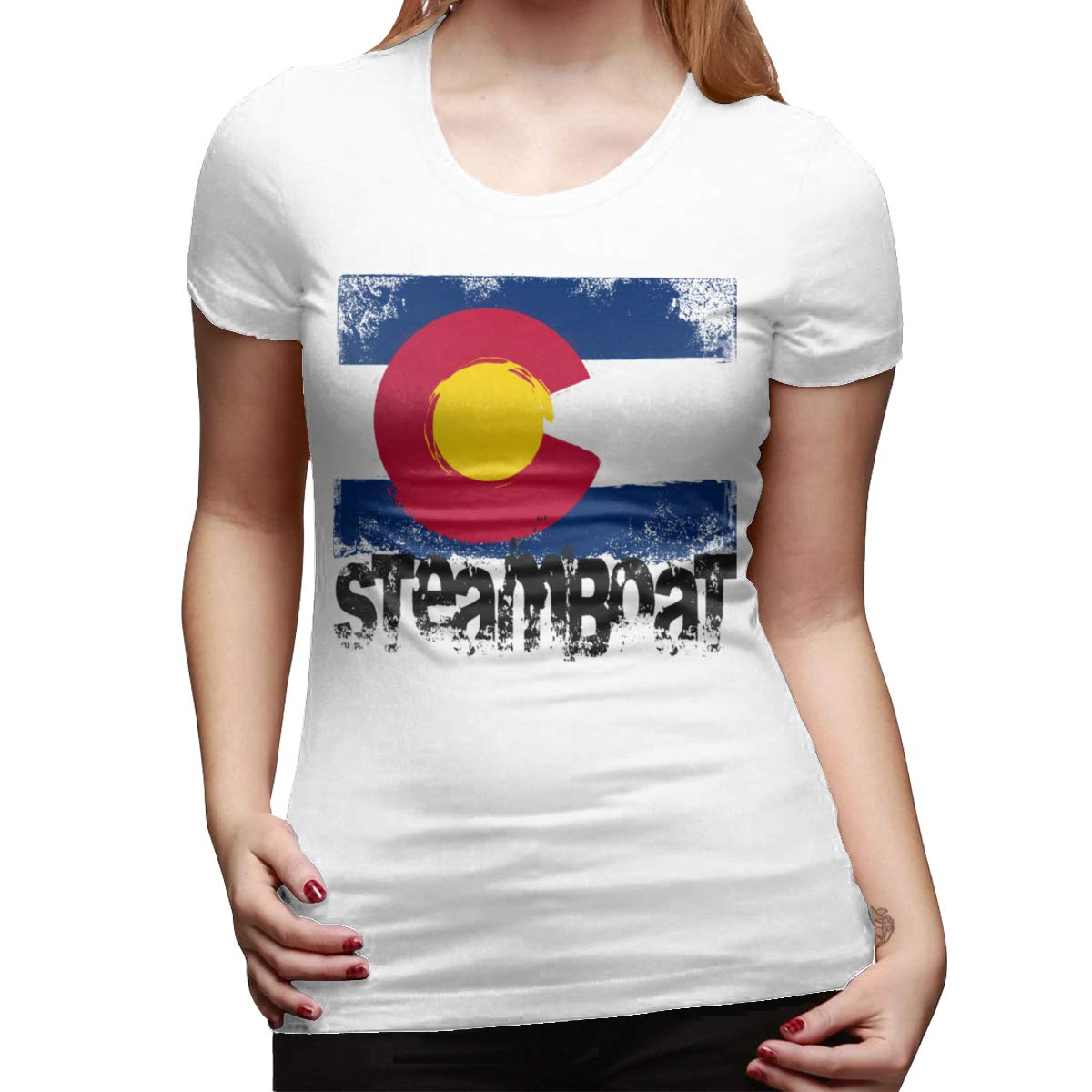 Seuriamin Steamboat Colorado Flag Comfort Sports Round Neck Short Sleeve T Shirt Tops