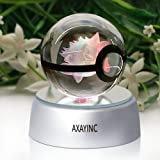 AXAYINC 3D Crystal Ball LED Night Lights Advance Laser Engraving Children's Gift (Gengar)