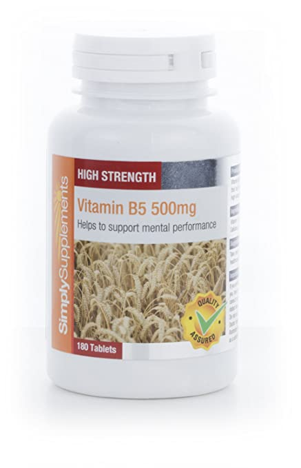 Vitamina B5 500mg - 180 comprimidos - Hasta 6 meses de suministro - Ácido Pantoténico -