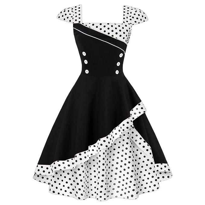 Là Vestmon Vestido Retro de cóctel para Mujer Vestido a Lunares Vestido Vintage Rockabilly Falda Plisada