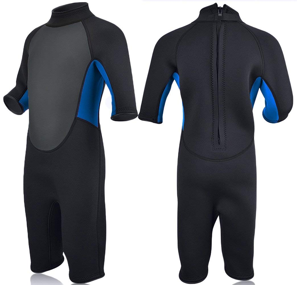 Realon Kids Wetsuit Shorty Full 3mm Premium Neoprene Lycra Swimsuit Toddler Baby Children and Girls Boys Youth Swim Surfing Snorkel Dive Snorkel XSPAN Back Zip Suit (Blue, XXL) by Realon